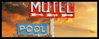 Red, vintage, neon motel sign on blue sky; Shutterstock ID 95002717
